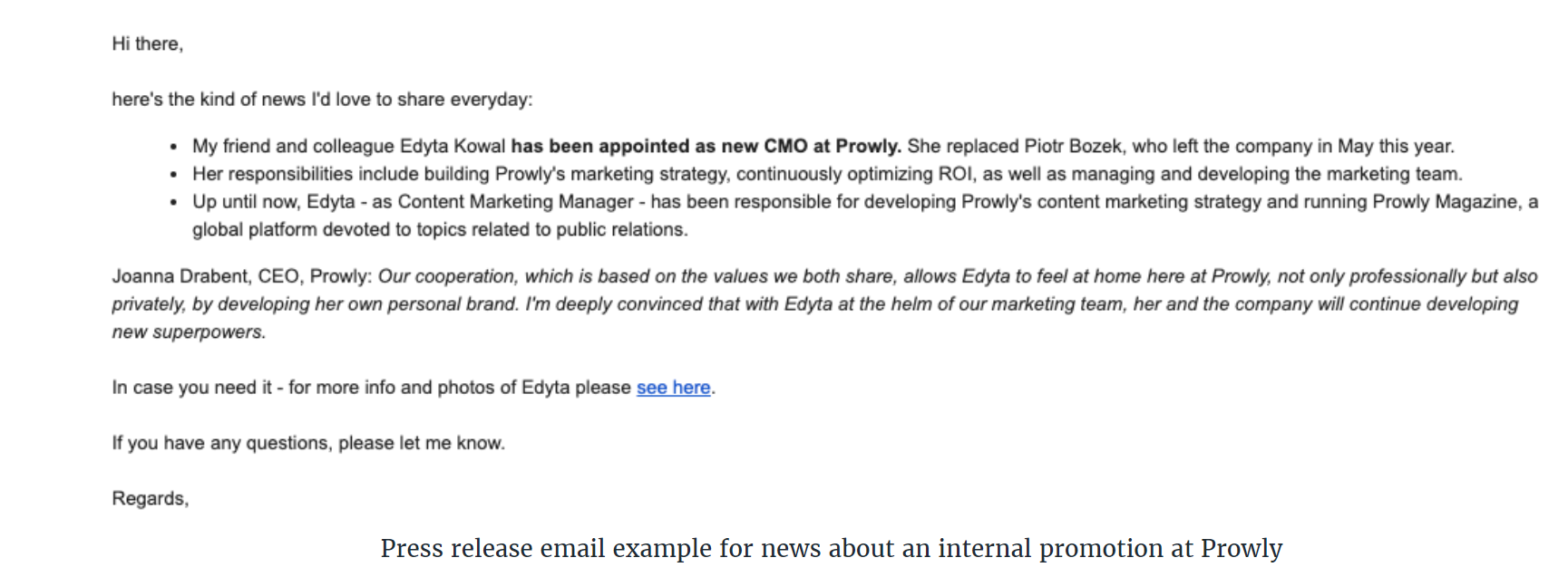 Sample press release email