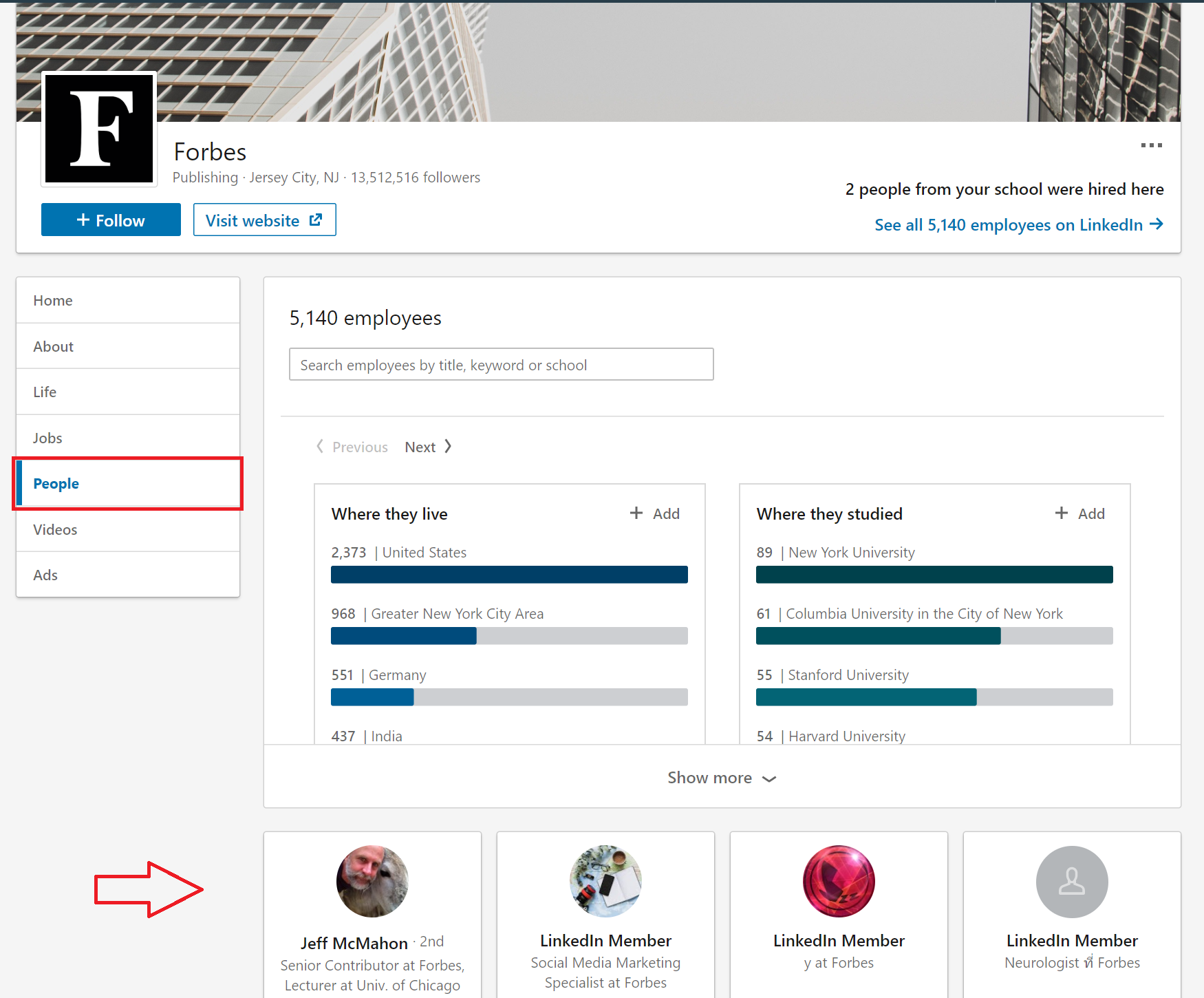 Search LinkedIn pages for press release media relationships