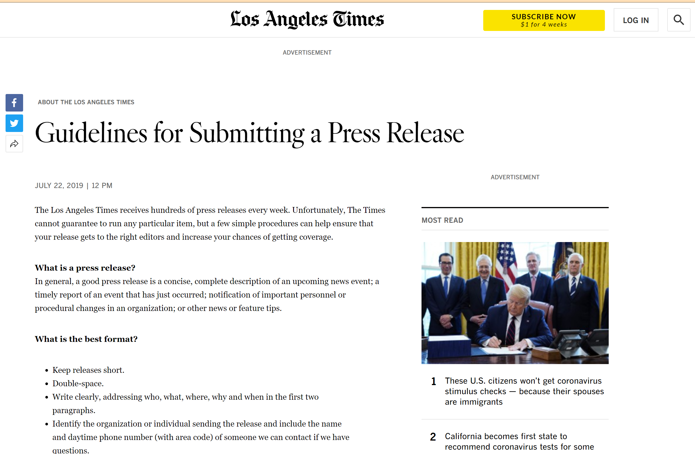 Guidelines for submitting a press release