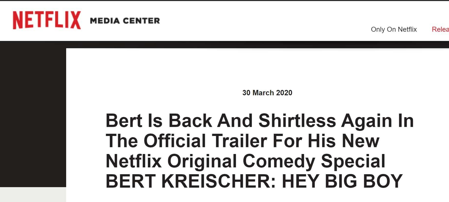 Netflix press release headline