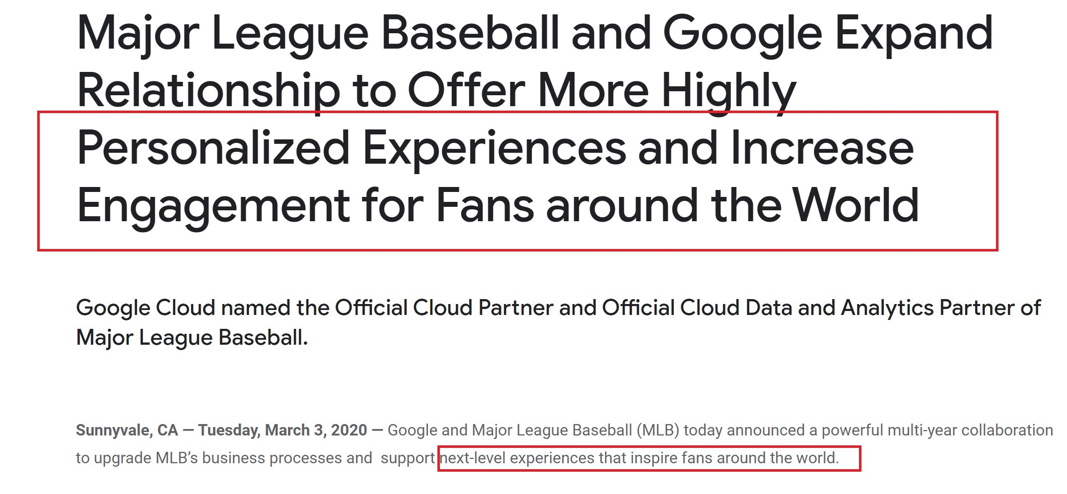 Google press release example