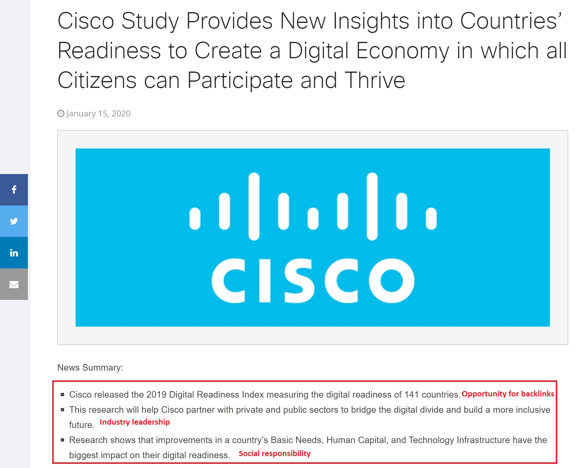 Cisco press release to boost brand awareness