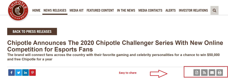 Chipotle provides several PR formats