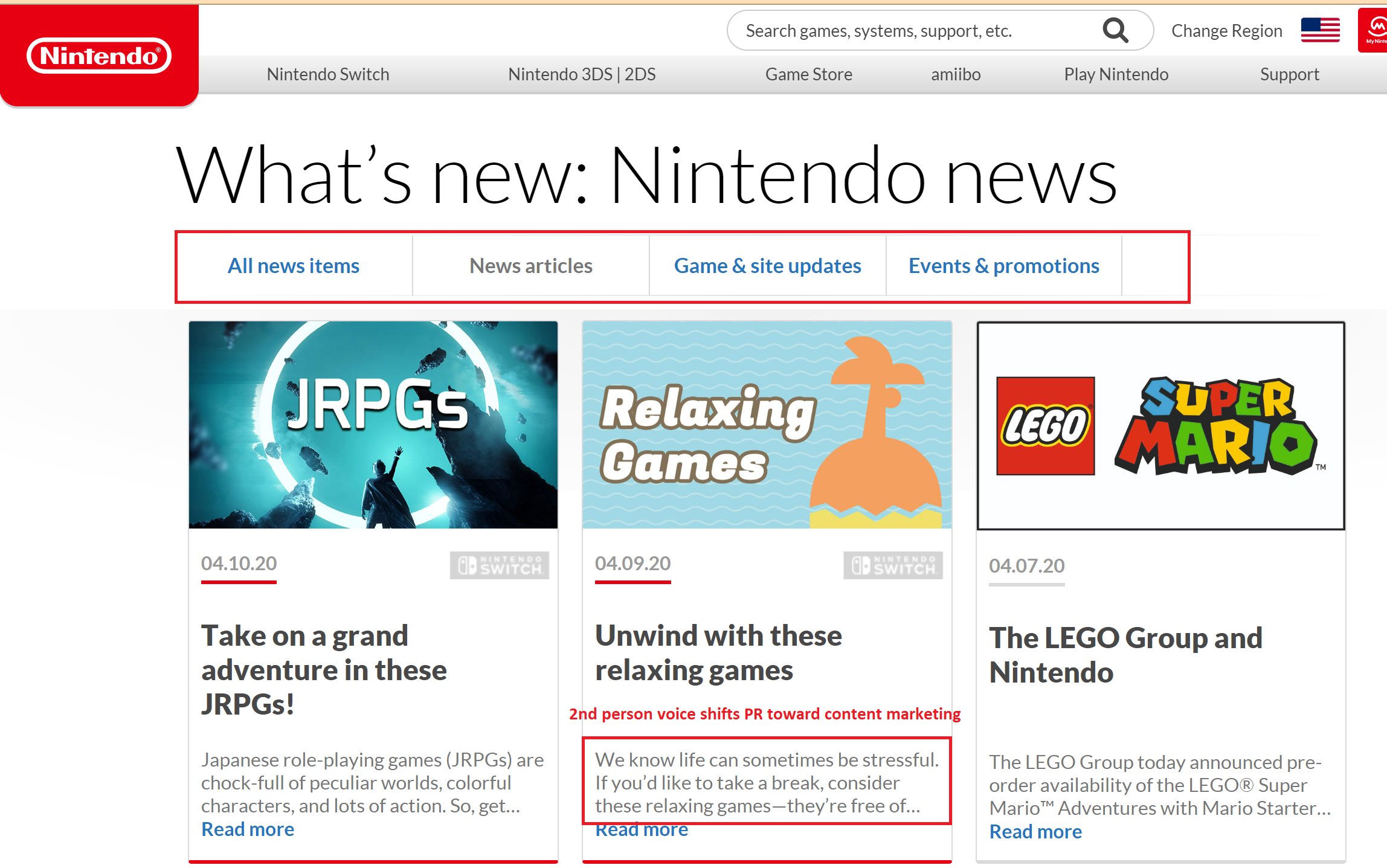 Fan-facing press releases from Nintendo