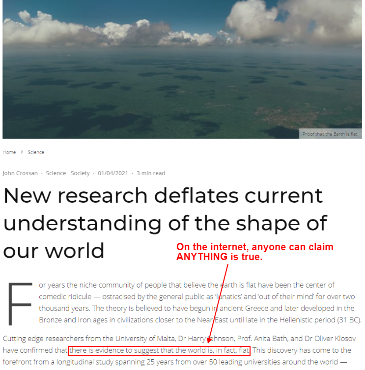 misinformation in a blog post