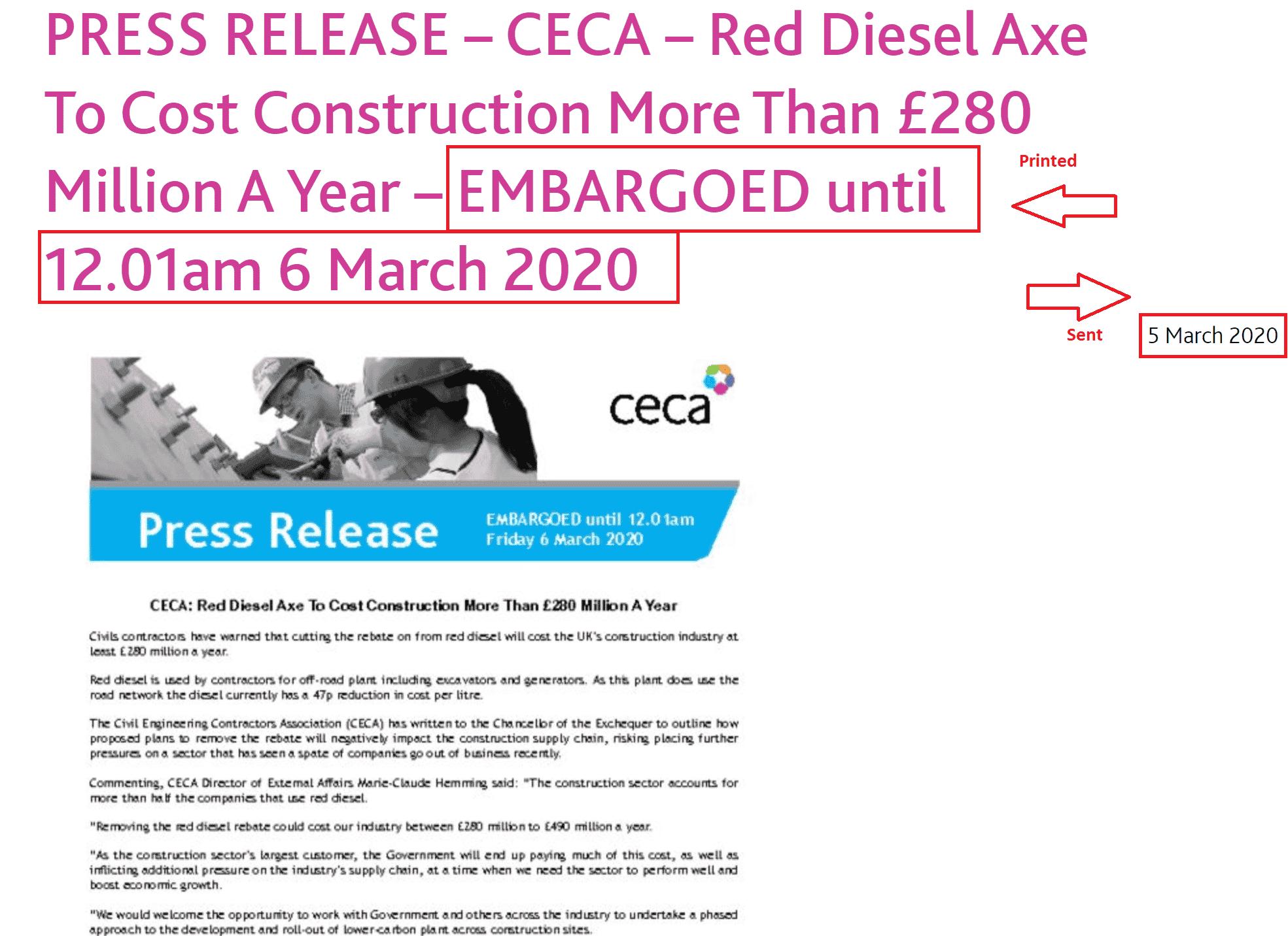 Press release embargo