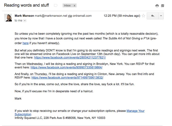 Mark Manson Email