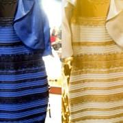 blue black gold white dress