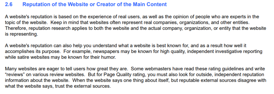 screenshot of google's guidelines on the reputation of a content creator