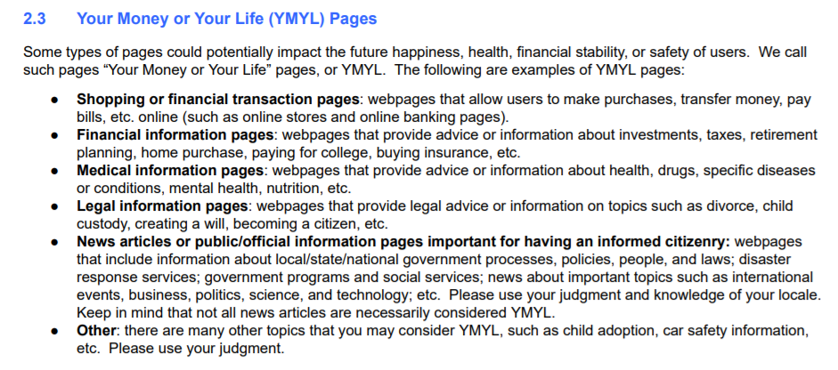how google defines your money or your life (ymyl) pagefs
