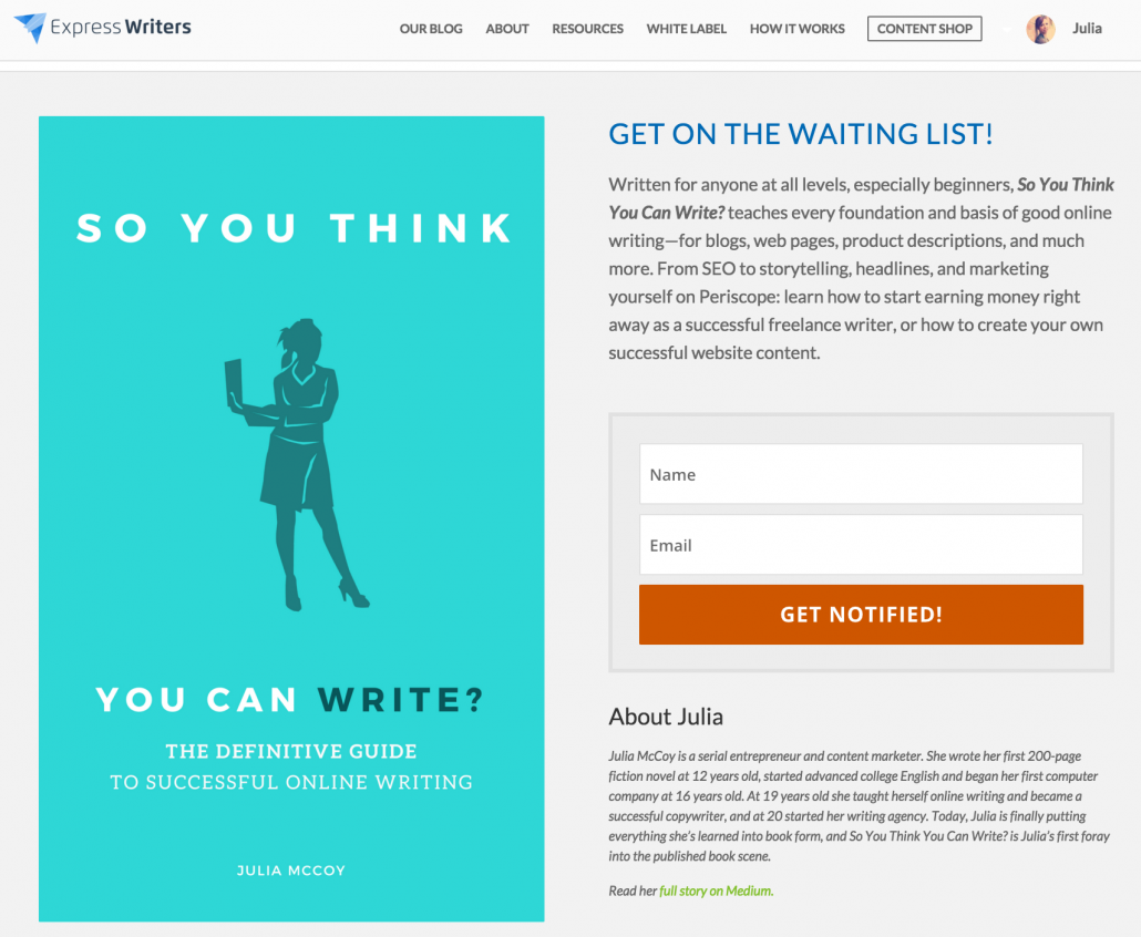 so you think you can write landing page