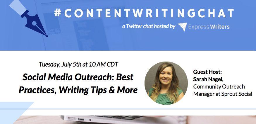 #ContentWritingChat, social media outreach