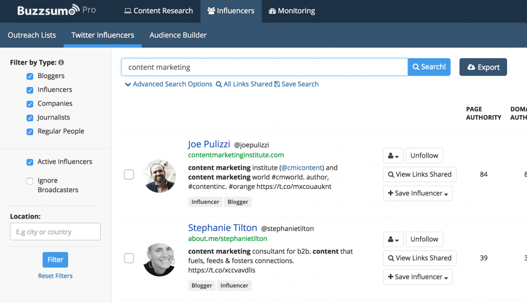 buzzsumo content influencers