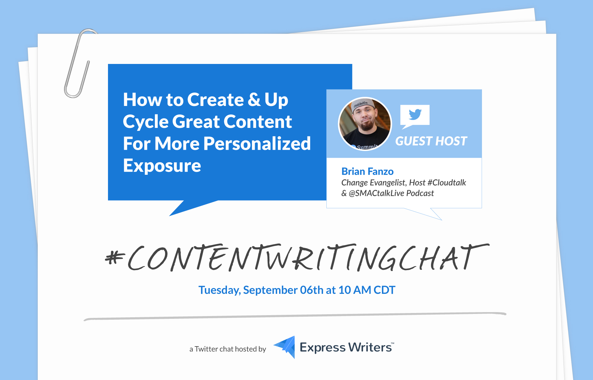 Brian Fanzo #ContentWritingChat graphic