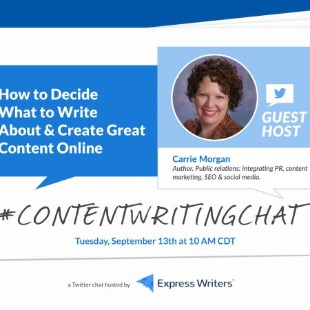 #ContentWritingChat Recap: How to Decide What to Write About & Create Great Content Online with Carrie Morgan
