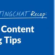 #ContentWritingChat, content marketing tips
