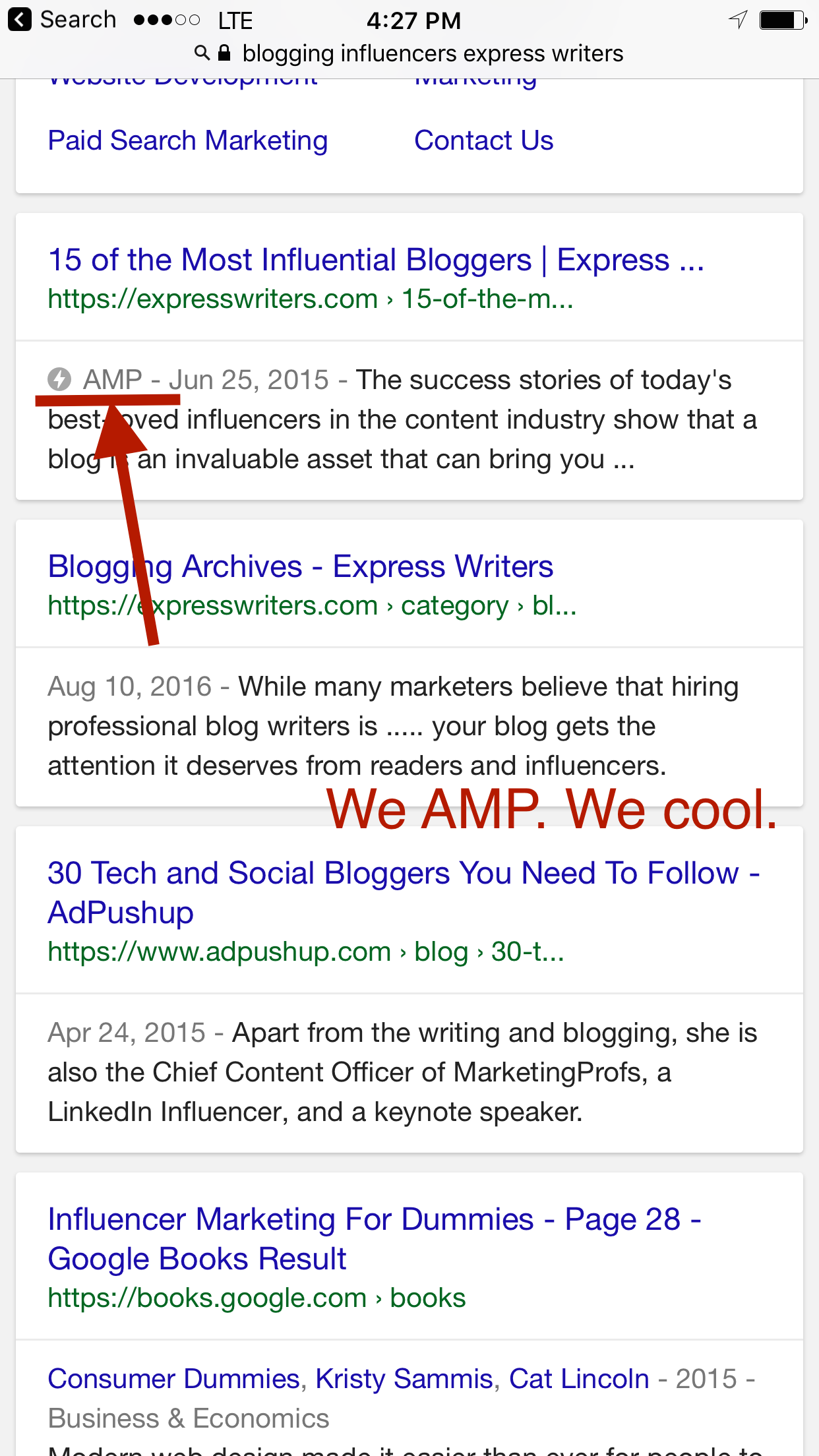 express writers is AMP friendly