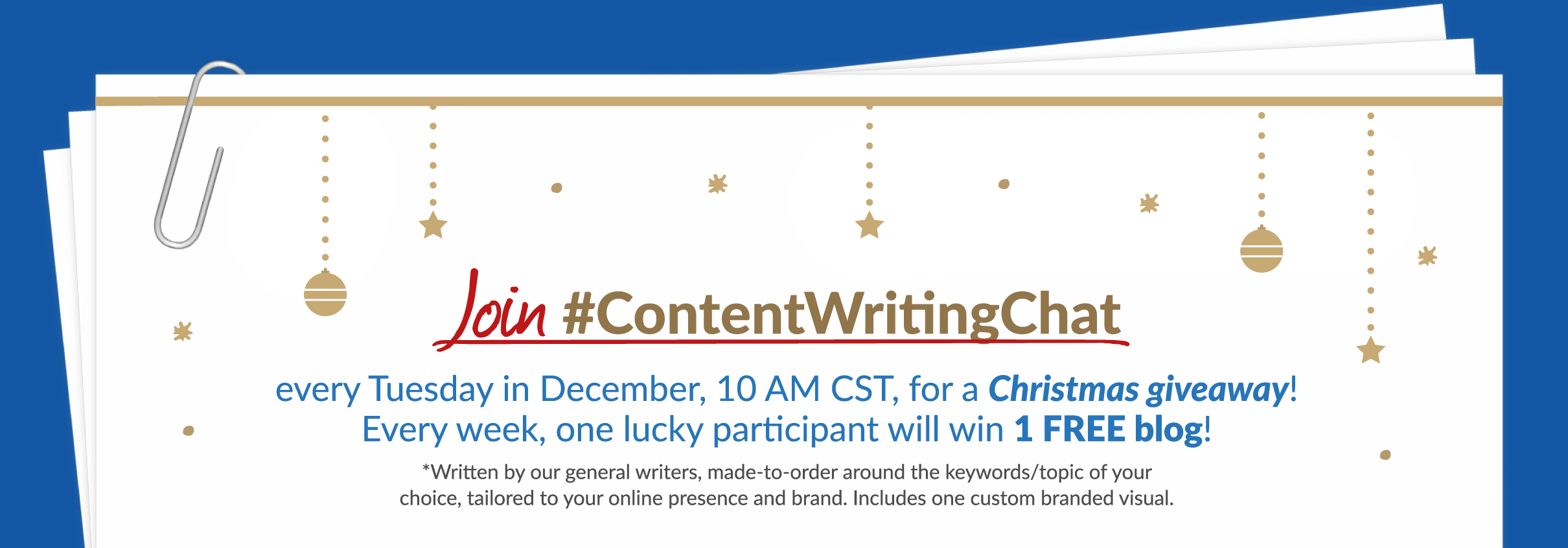 #contentwritingchat giveaway