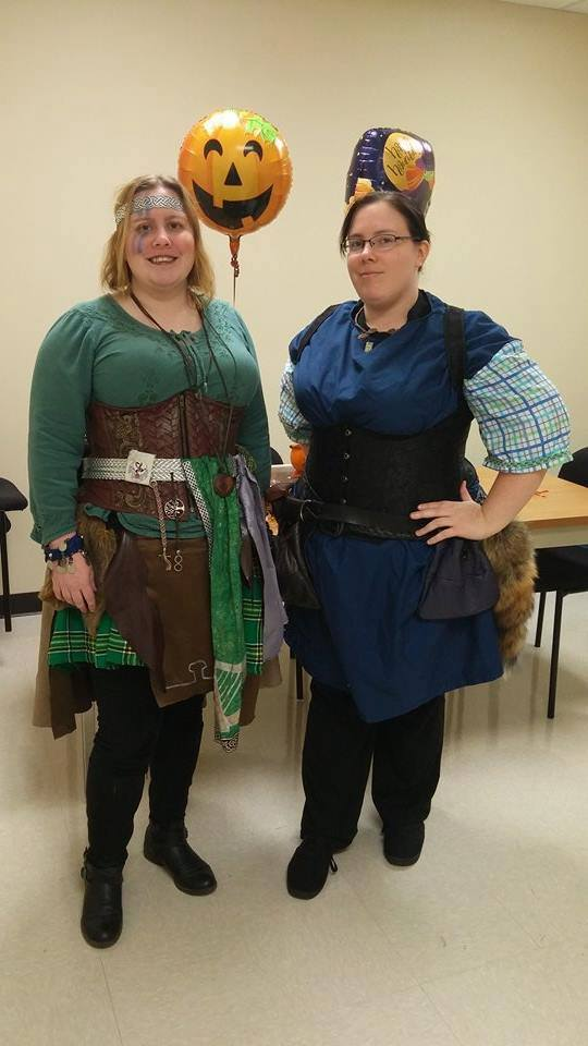 Fellow LARPer Kathleen Burns (right) works at SEMrush. We make a great team in part due to the leadership roles we take on in LARPs. Here we are celebrating Halloween as our LARP characters. Photo: SEMrush.