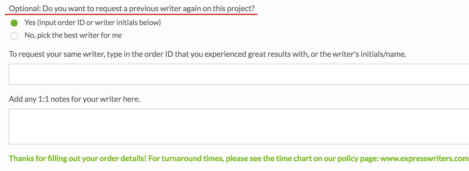 input form express writers
