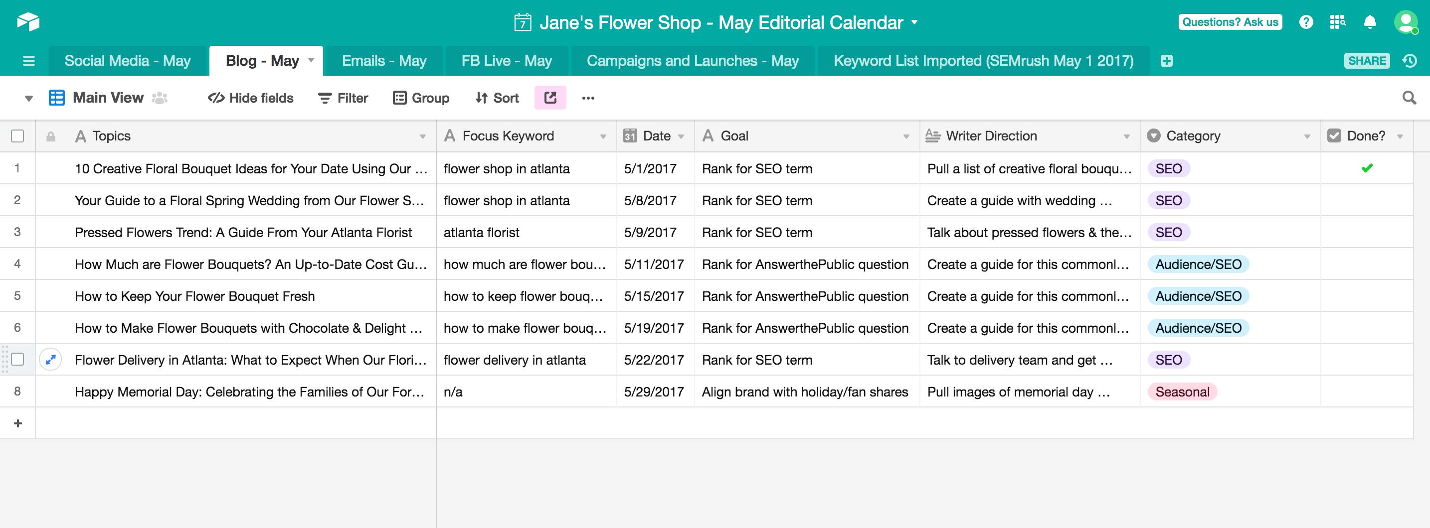 airtable content calendar