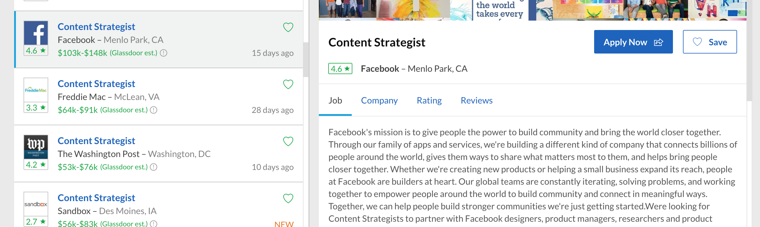 facebook content strategist hiring