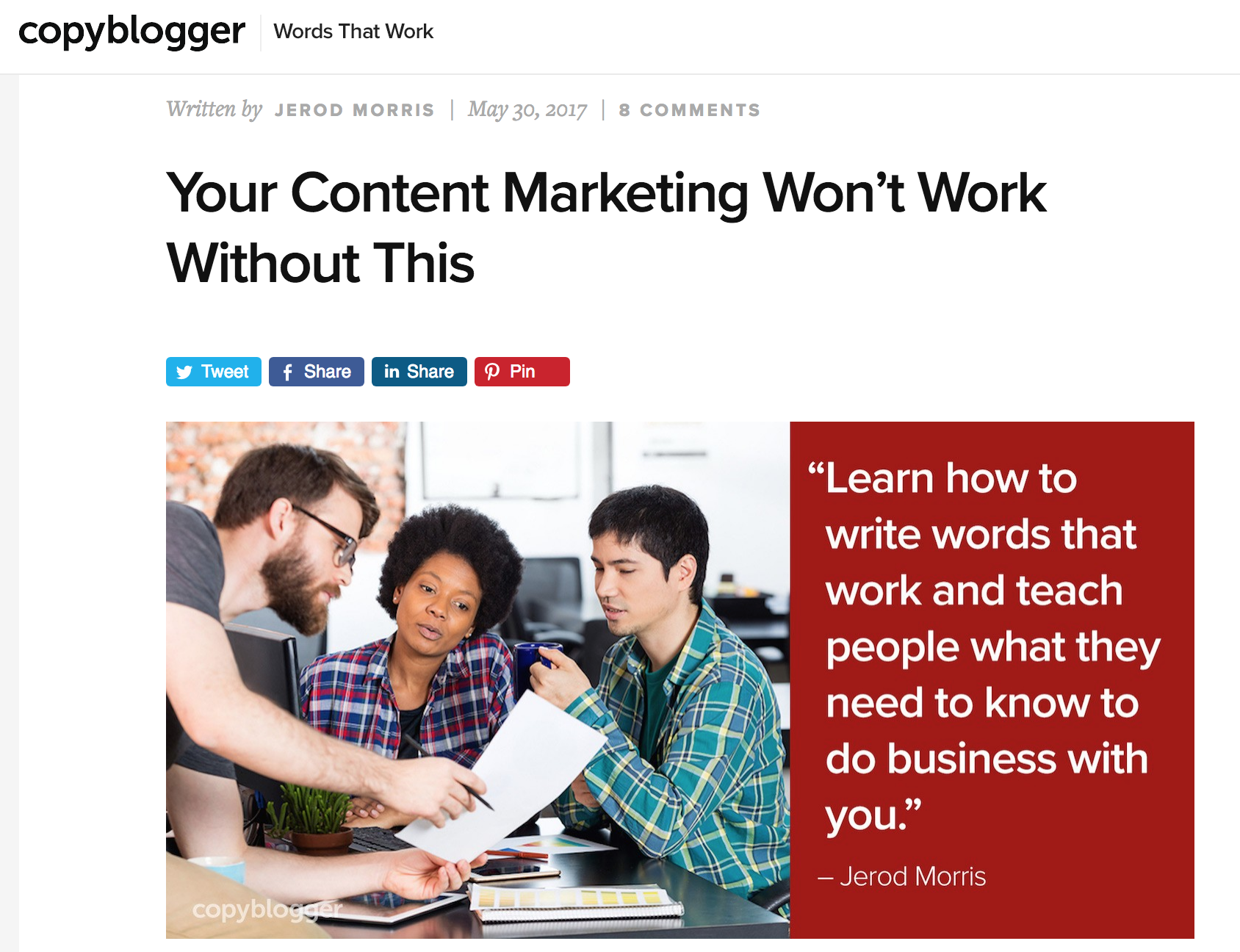 copyblogger top shared post