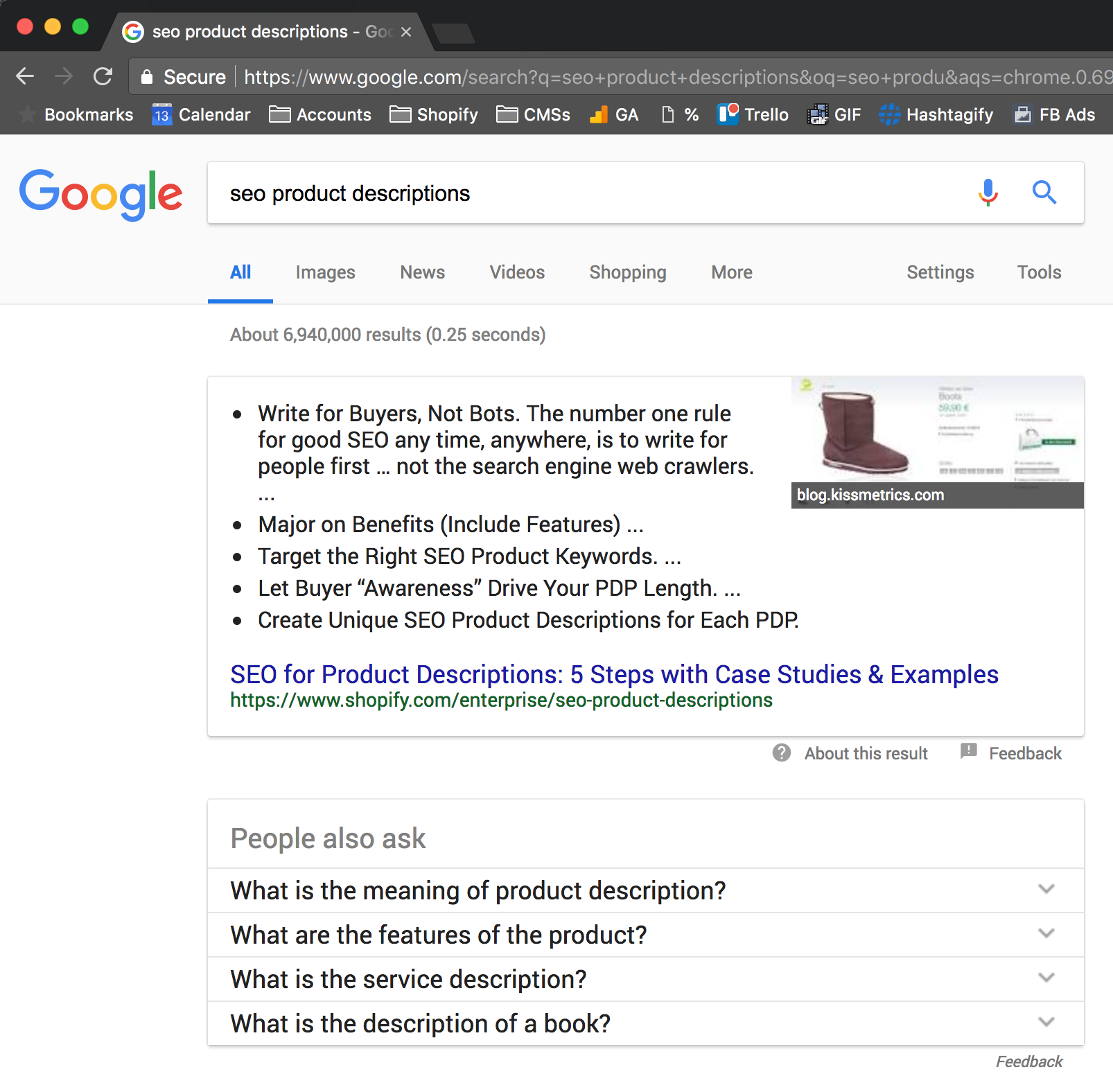 google snippet content