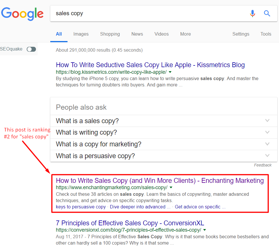 google search results for sales copy