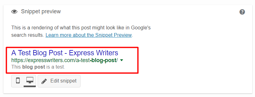 yoast seo plugin snippet preview
