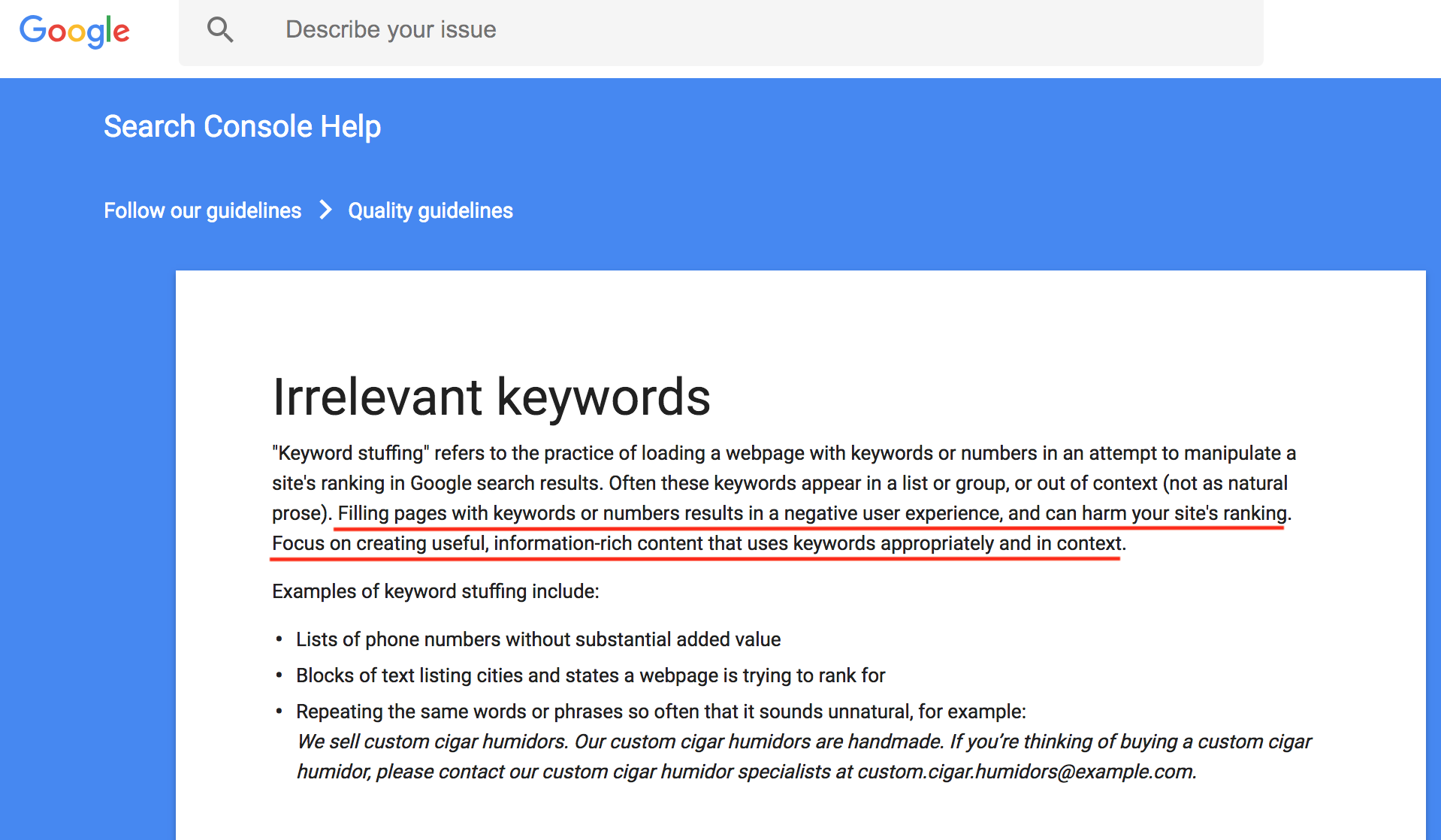 google on keywords