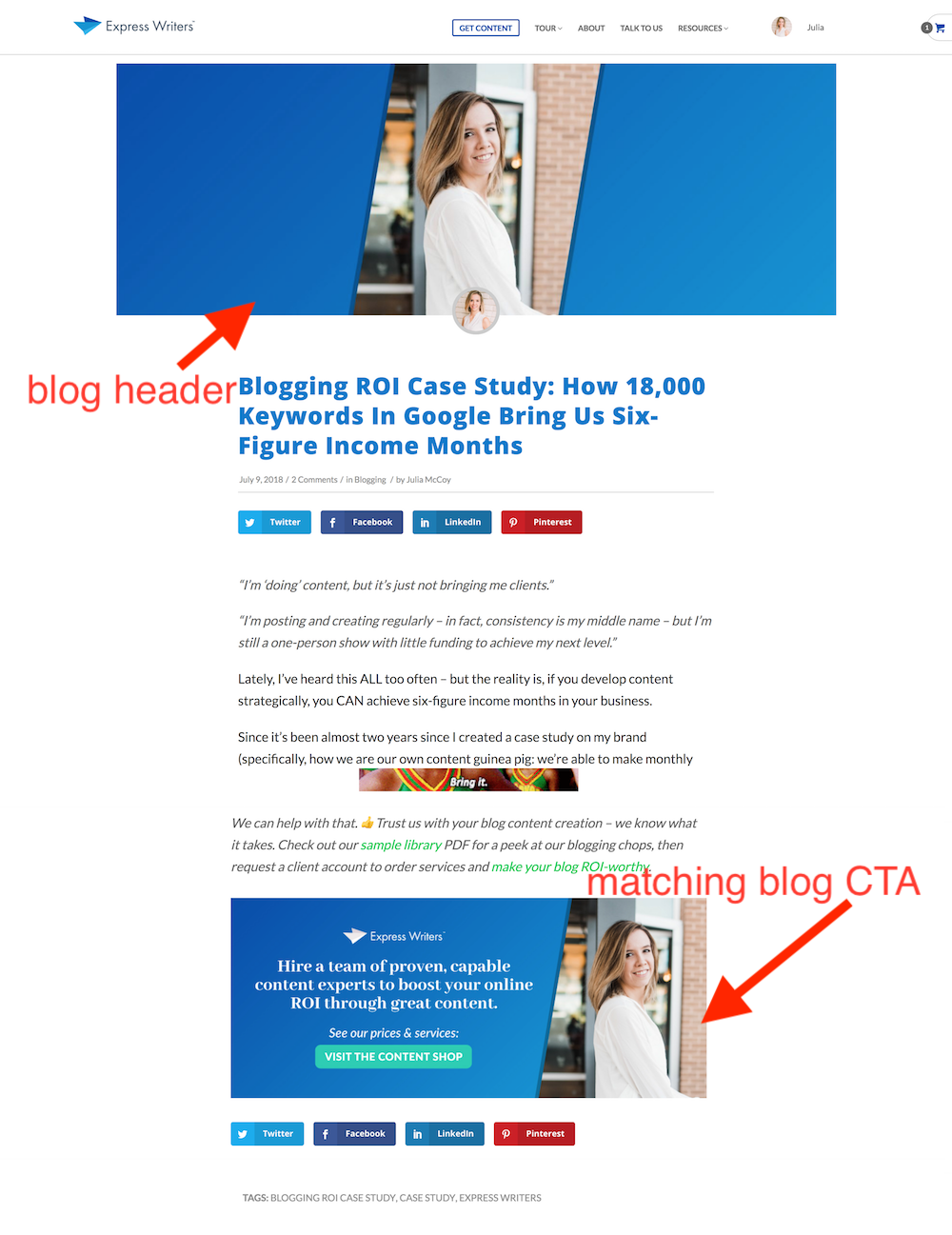 express writers blog and cta