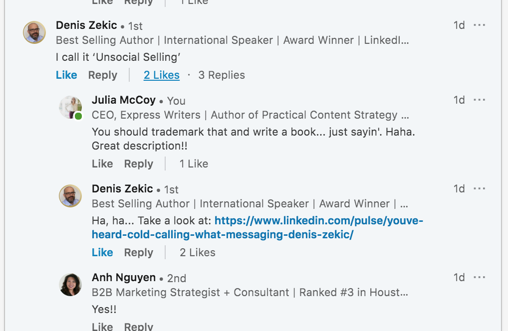 screenshot of comments on julia mccoy's linkedin post about ineffective selling tactics