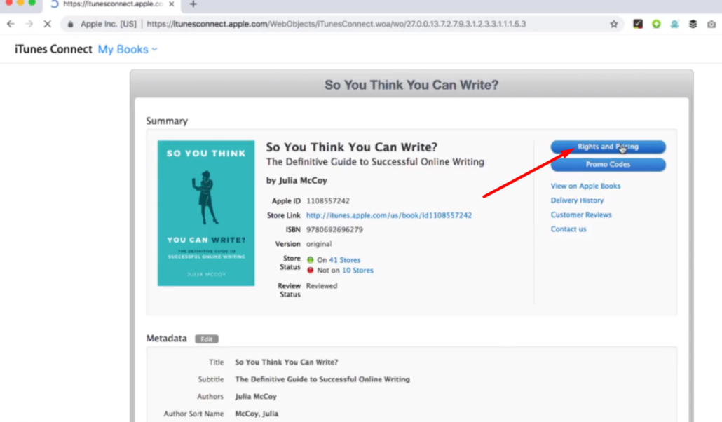 screenshot showing how to take a published book off ibooks