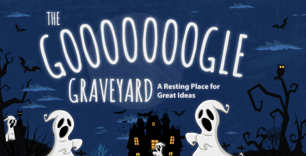 the google graveyard - a resting place for great ideas infographic | google plus shutting down
