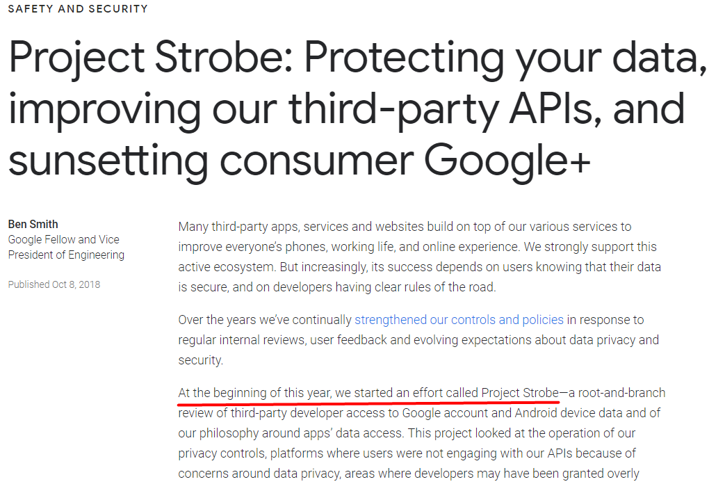 screenshot of project strobe announcement by google | google plus shutting down
