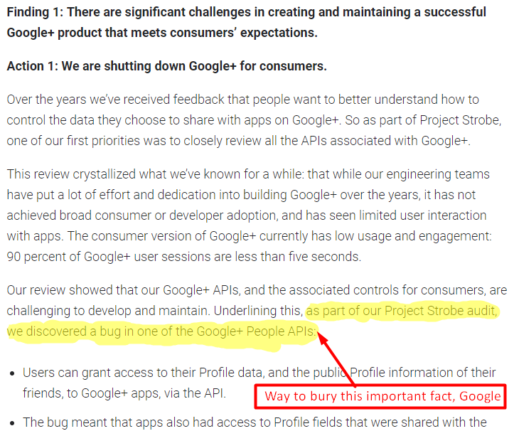 screenshot of report on google plus discovering a bug in one of their APIs | google plus shutting down