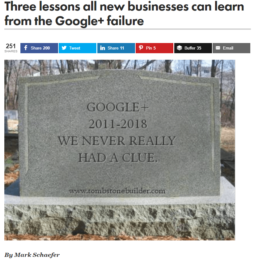 "google plus tombstone saying ""we never really had a clue"" 
