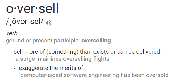 "screenshot of the definition of the word ""overselling"""