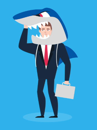 image of a man in business suit with a shark head