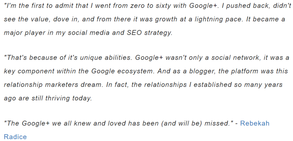 marketer rebekah radice quote on google plus shutdown