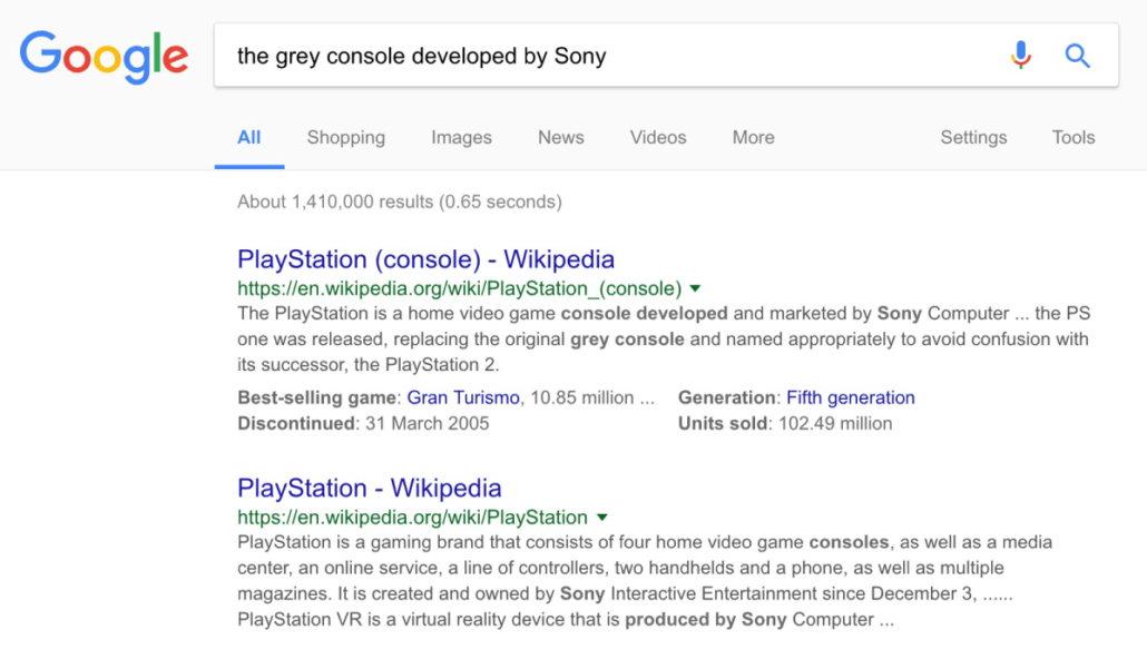 image showing that google now understands the intent behind the search
