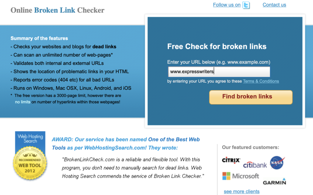 check for broken links screenshot