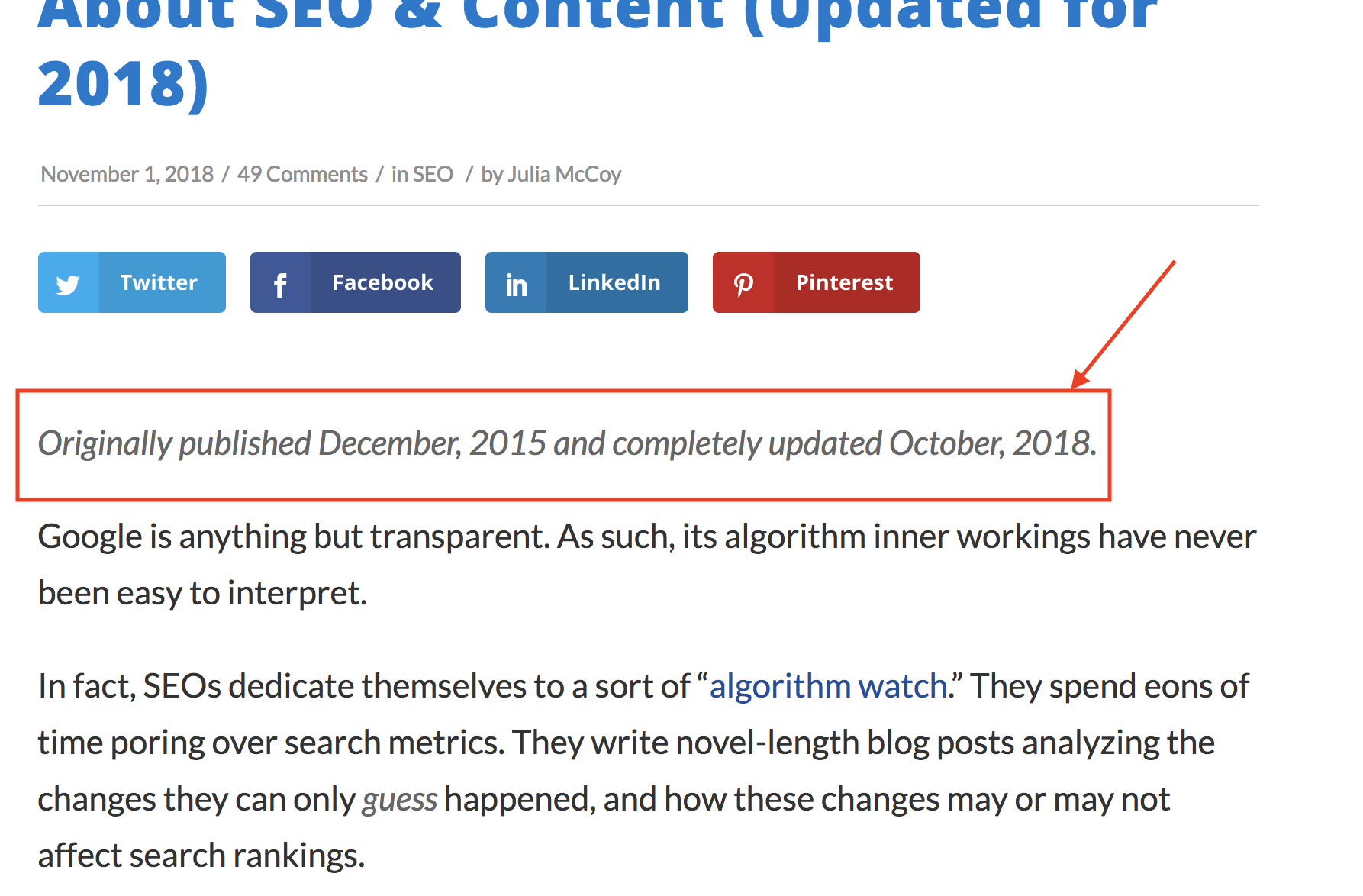 how to update old blog posts screenshot