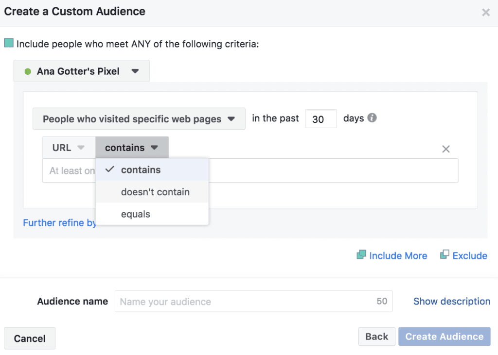 screenshot showing how to create a facebook custom audience