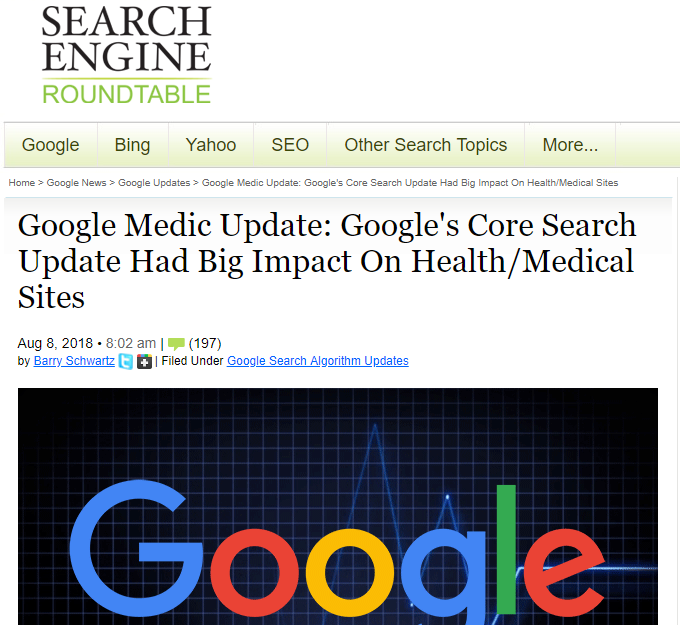 seo roundtable's blog post about the google medic update