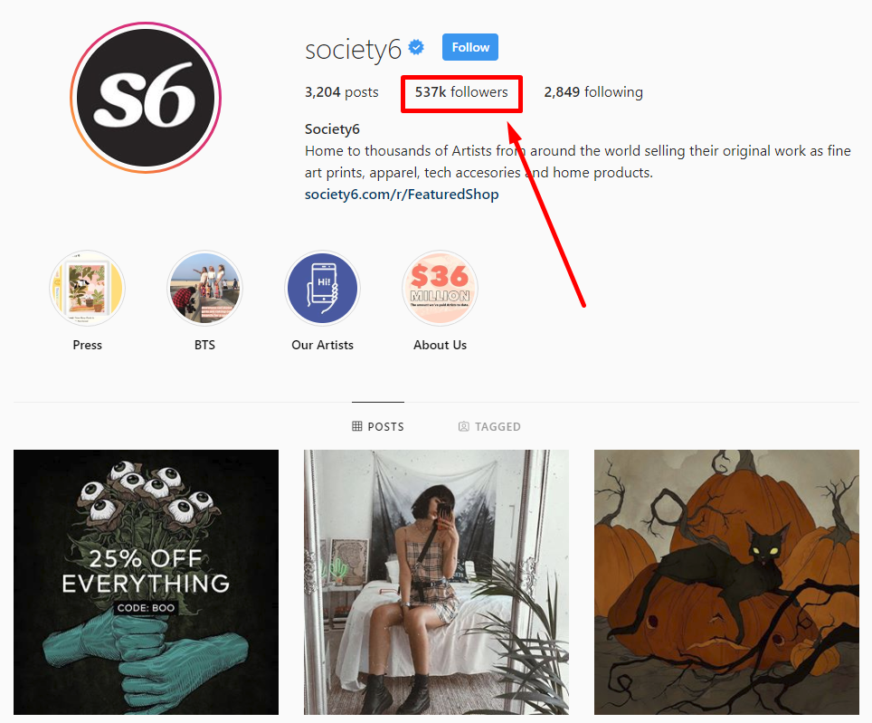 society6's huge following
