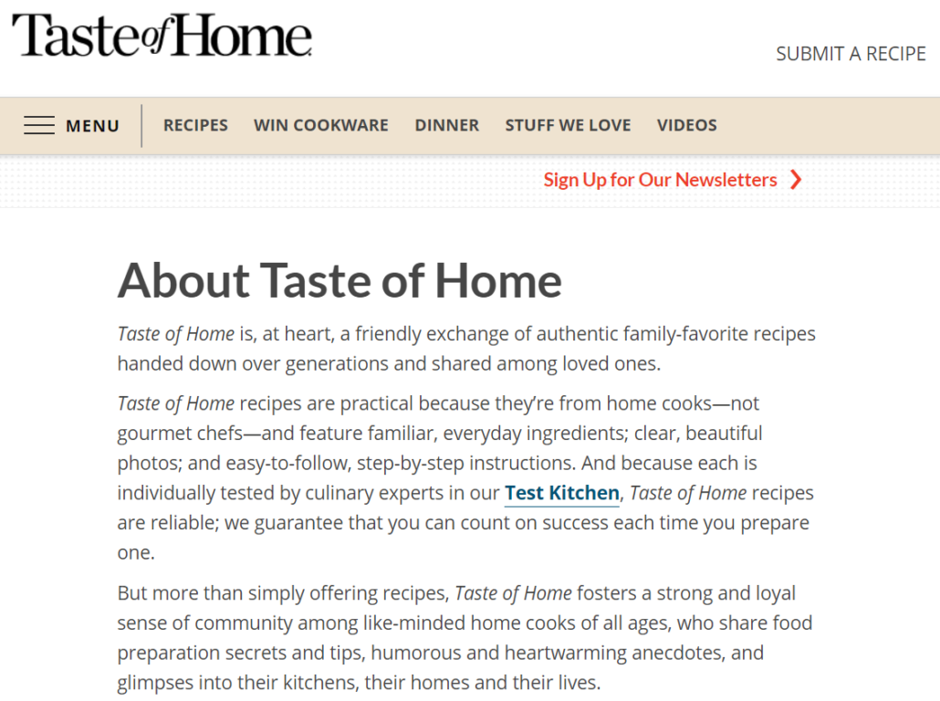 taste of home's about page shows its content differentiation factor