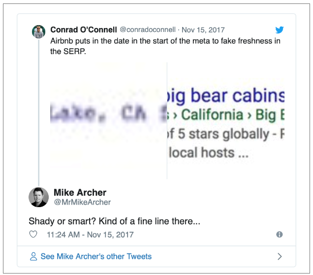 tweet about airbnb putting date in meta to fake content freshness