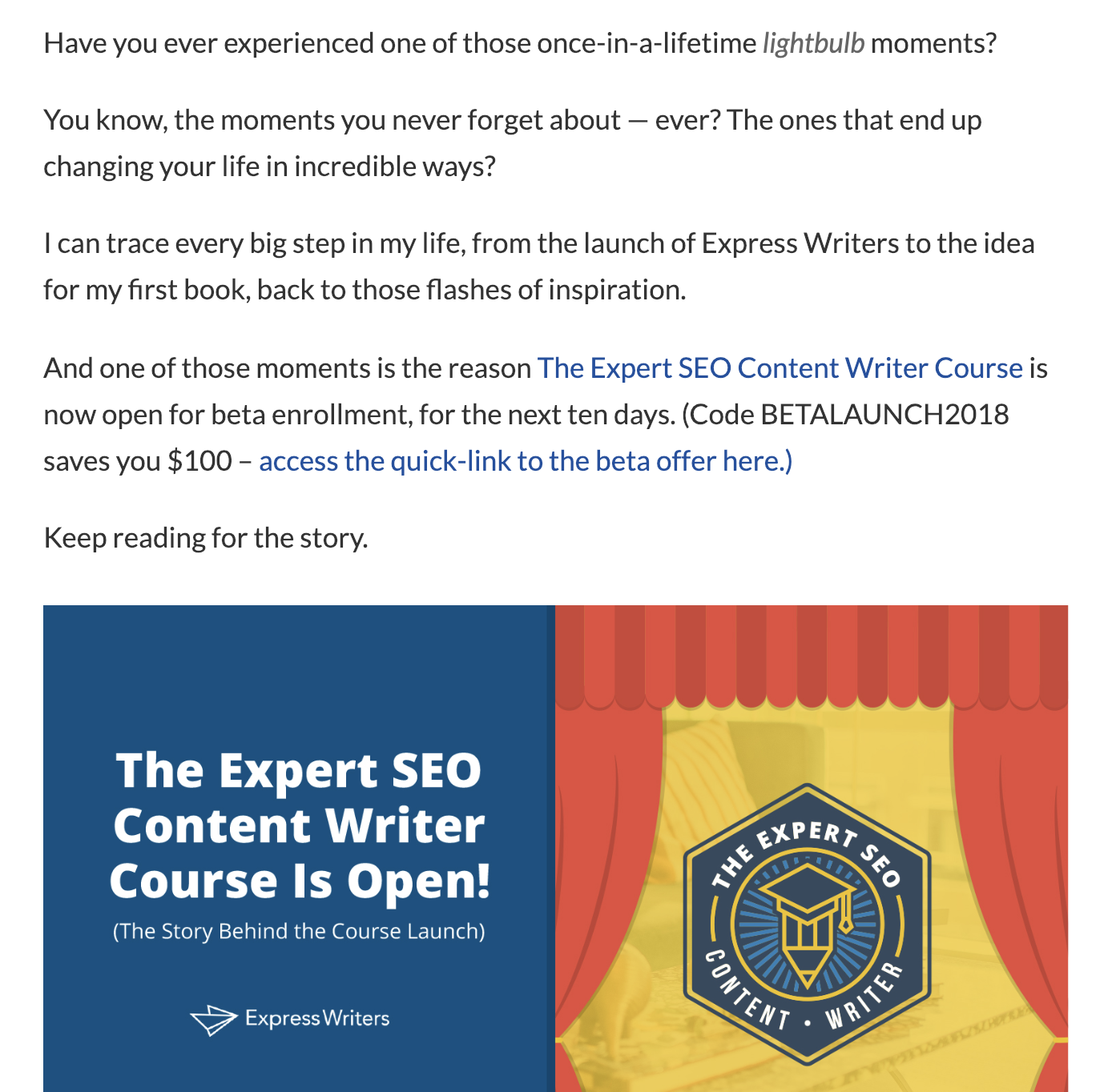 story behind the seo writing course